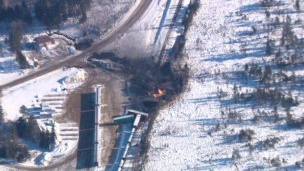This was as close as our cameras ever got to the Wapske crash site. These aerial images were taken from a private helicopter, chartered by the CBC.