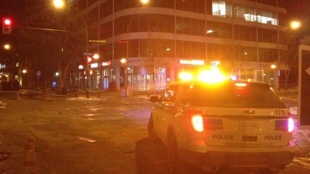 Police block off intersection near Saskatoon Square.