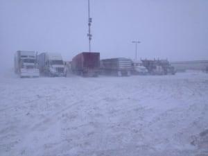 Trucks stranded