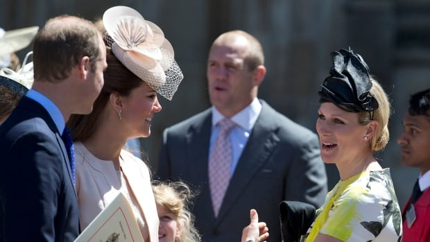 Prince William and Kate talk with Zara Phillips, right, and her husband Mike Tindall, centre, last June. Buckingham Palace announced that Phillips had given birth to a 7 pound, 12 ounce, girl.