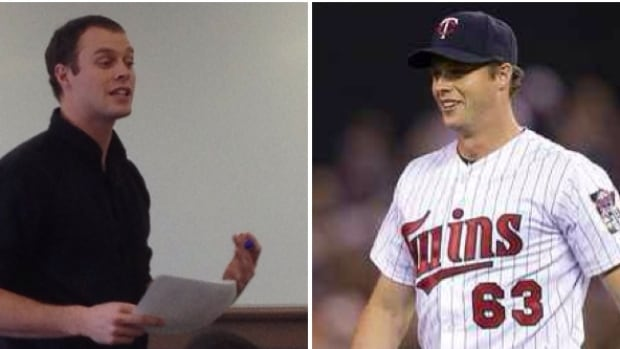 On the left, Andrew Albers as a teacher at John Paul II Collegiate in North Battleford. On the right, as a pitcher with the Minnesota Twins.