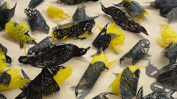 Paul Robles: Untitled (Homecoming) 2013. Waxed Cut origami paper.