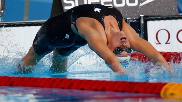 Canada's Hilary Caldwell, shown here last year, won the women's 200-metre backstroke on Saturday.