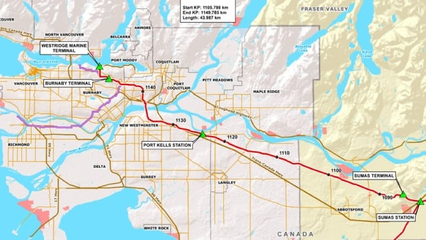 Within Metro Vancouver, Kinder Morgan's existing TransMountain pipeline goes through Langley, Surrey, Coquitlam, and terminates in Burnaby.
