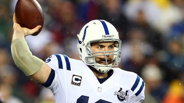 Colts quarterback Andrew Luck, pictured here, is off to the Pro Bowl in place of Super Bowl-bound Russell Wilson of the Seahawks.  This season, Luck completed 60.2 per cent of his pass attempts for 3,822 yards and 23 touchdowns.