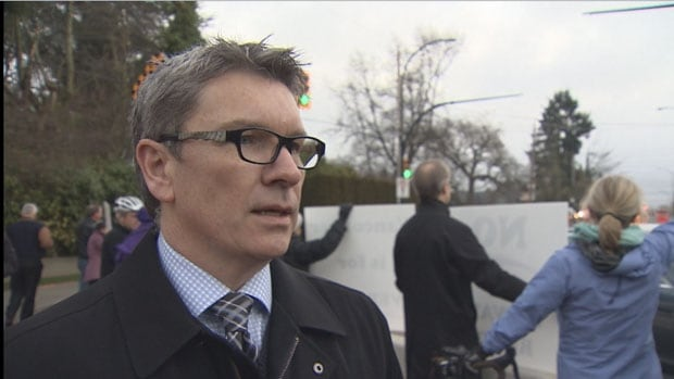 George Affleck at protest of Point Grey Road closure