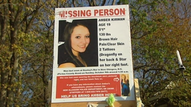 Amber Kirwan, 19, disappeared in October 2011. Her remains were found a month after her disappearance. New Glasgow was papered with posters noting Kirwan's disappearance when she went missing.