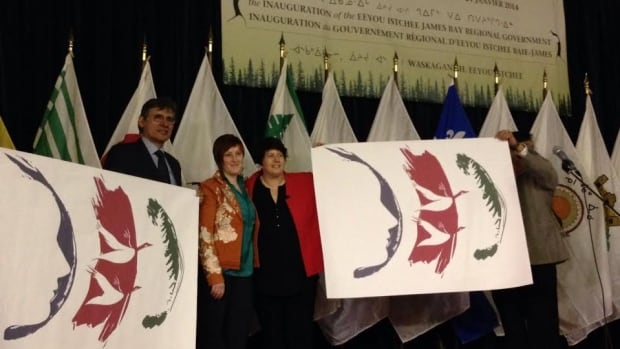 The new flag of the Eeyou Istchee-James Bay Regional Government is displayed at ceremony today. The new government features equal representation from aboriginal and non-aboriginal community representatives.
