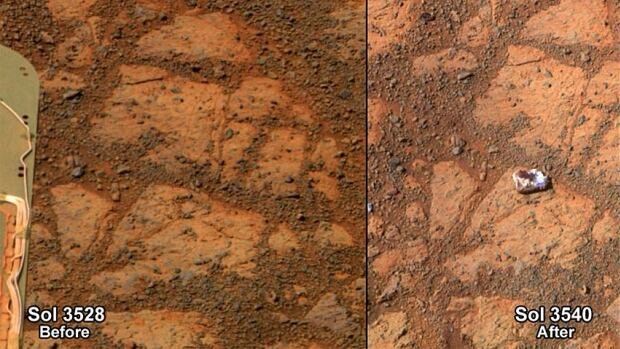 Two side-by-side photos captured by the Mars Opportunity rover 12 Martian solar days apart show the appearance of a strange doughnut-shaped rock on the right. The photo on the left was taken on solar day 3528; the photo on the right on solar day 3540.