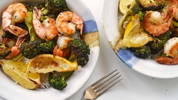 Roasted shrimp and broccoli