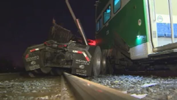 A few minor injuries were reported after a GO train collided with a truck west of Toronto on Tuesday night.