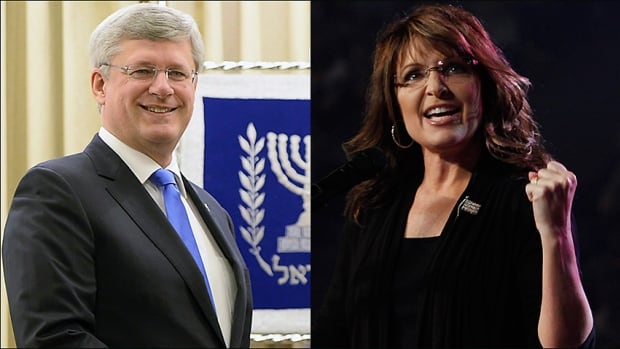 Prime Minister Stephen Harper is winning praise from former U.S. vice-presidential candidate and controversial politician Sarah Palin, right, for Canada's support of Israel.