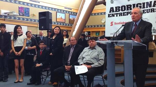 Former prime minister Paul Martin was at Kainai Secondary School Tuesday to hear business pitches from students as part of a new youth entrepreneurship program launched by his Aboriginal Education Initiative.