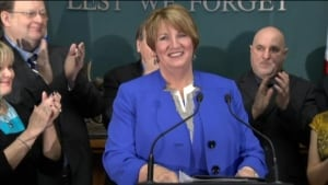 Kathy Dunderdale during resignation speech