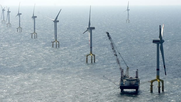 Windmills of the German wind farm BARD Offshore 1, are pictured 100 km offshore of the German island of Borkum. Germany and Britain pushed for more ambitious, tough targets on renewable energy development.