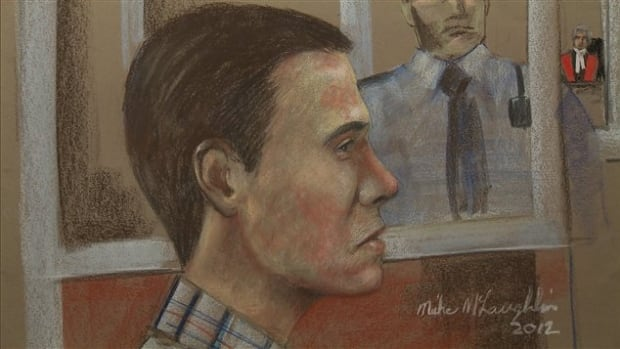 An artist's rendition of Luka Magnotta, who is facing charges including first degree murder in the 2012 death of Jun Lin.