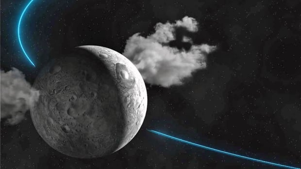This artist rendering released by IMCCE (Institut de Mecanique Celeste et de Calcul des Ephemerides) shows water plumes spewing from the surface of the dwarf planet Ceres. Scientists led by the European Space Agency observed the plumes and reported their findings in the Jan. 23, 2014 issue of the journal Nature.