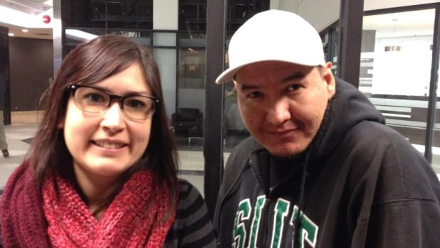 Joi Arcand and artist Kevin Wesaquate