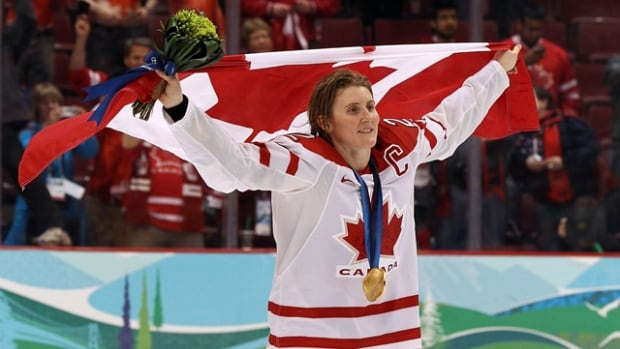2010 gold medal winning Team Canada hockey player Hayley Wickenheiser is Canada's flag bearer for the Sochi Games.