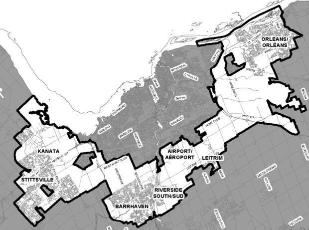 Map of suburban Ottawa