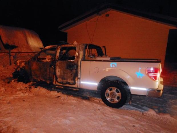 skpic RCMP truck fire