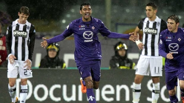 Marvin Compper of ACF Fiorentina celebrates after scoring a goal during the TIM Cup match between AC Siena and ACF Fiorentina at Artemio Franchi on Thursday in Florence, Italy.
