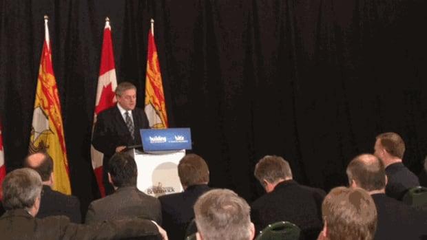 Premier David Alward making CN funding announcement in Miramichi