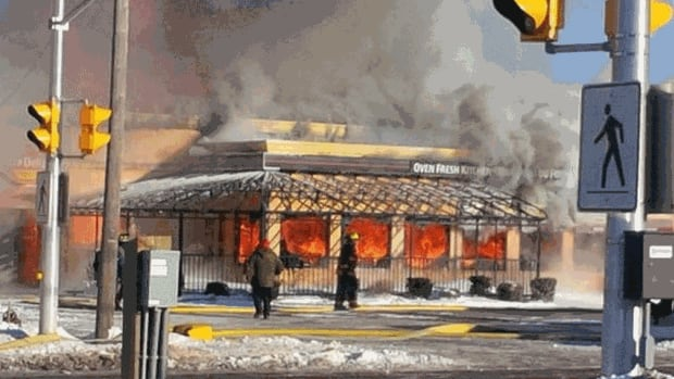 The Pizza Delight in Shediac was fully engulfed again on Friday morning, for the second time in two days.