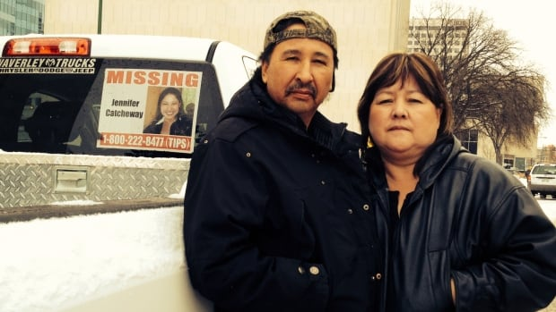 Wilfred, left, and Bernice Catcheway have posted a photograph on their truck of their daughter, Jennifer, who went missing in June 2008, along with a police phone number that people can call if they have information about her disappearance.