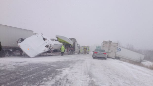 The OPP are advising people stay off the roads in these terrible winter conditions after a multi-vehicle pile up on Highway 401 near Cobourg, Ont., Saturday.