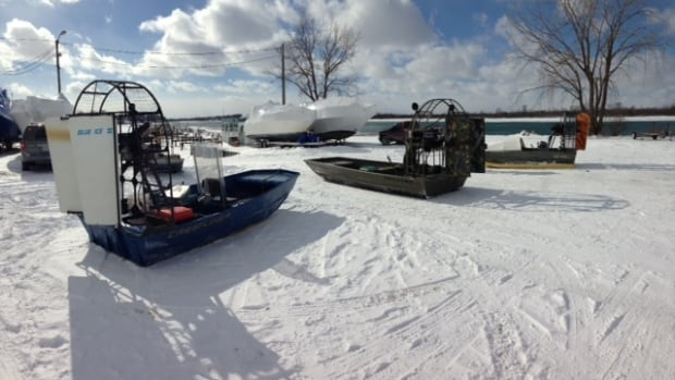 Ferry service between Amherstburg and Boblo Island has been cancelled so four airboats are being used instead.