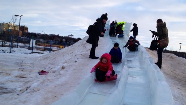 Ice slide at WinterShines festival at the Saskatoon Farmers' Market.
