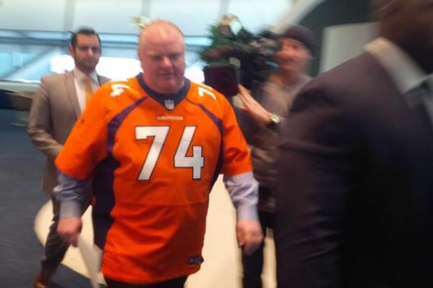 Rob Ford arrives in Broncos jersey