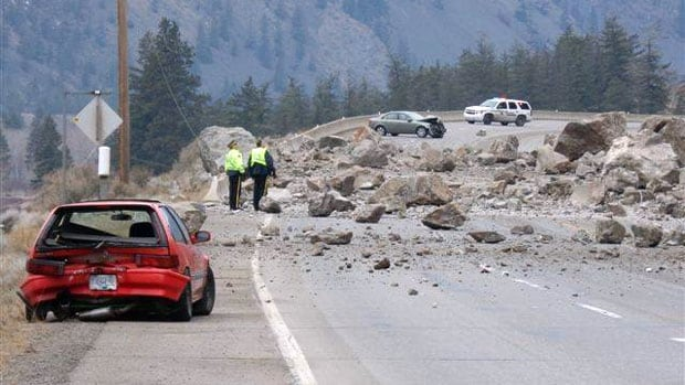 Witnesses say rocks of all shapes and sizes — including boulders the size of trucks — came crashing down Monday onto Highway 3, between Keremeos and Hedley, B.C.