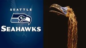 Seattle Seahawks logo and mask