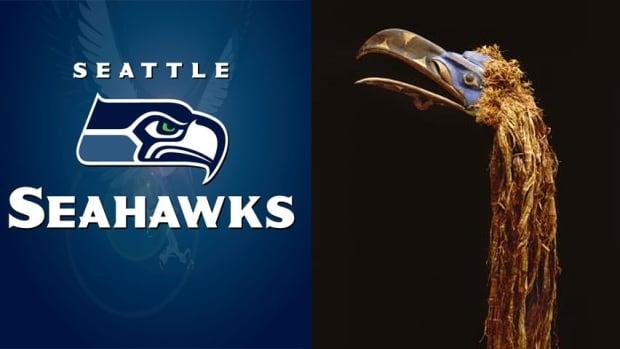 Seattle Seahawks logo and mask