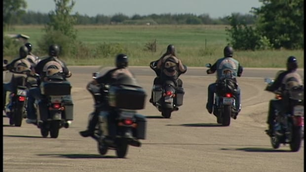 Hells Angel in highway formation outside Saskatoon.
