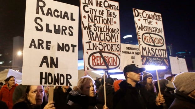 American Indians and their supporters gather outside the Metrodome last November in Minneapolis to urge the the Washington Redskins to change their team name.