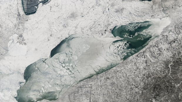 Most of Lake Erie is covered in ice as this NASA satellite image taken on Jan. 9, 2014 shows.