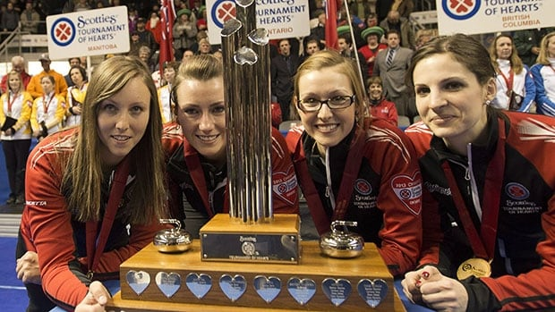 Rachel Homan, far left, skipped her Ontario rink to last year's title. They're defending as Team Canada this year.