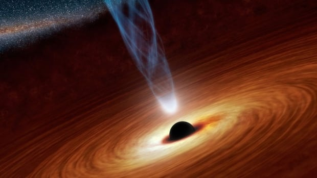 An illustration from NASA shows a supermassive black hole in the nearby spiral galaxy NGC 1365. Physicist Stephen Hawking now says black holes do not exist, at least as he has previously described them.