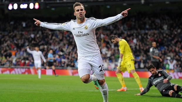 Jese Rodriguez of Real Madrid CF celebrates after scoring against Espanyol at Estadio Santiago Bernabeu on January 28, 2014 in Madrid, Spain.