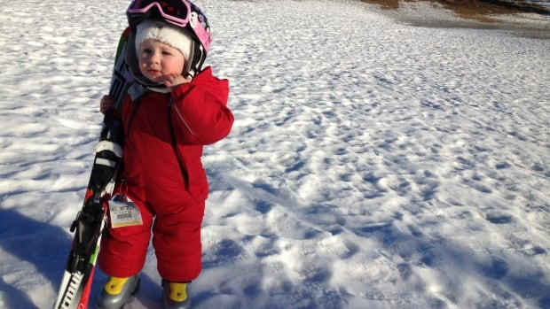 "Lillian Sharpless enjoys skiing ""fast"" at 23 months. She's never been on a bunny hill."