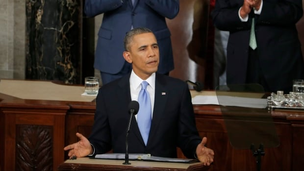 President Barack Obama gives his state of the union address on Capitol Hill in Washington.