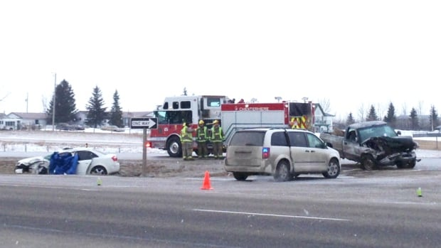 One person was killed and two others injured, including a child, in a crash east of Calgary early Wednesday morning before the current snowfall has caused even more dangerous highway conditions.