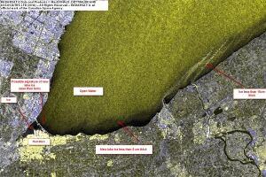 Lake Ontario ice cover satellite image