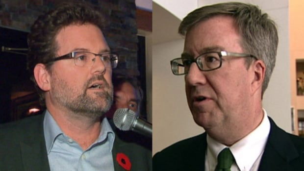 Gatineau Mayor Maxime Pedneaud-Jobin, left, and Ottawa Mayor Jim Watson, right, are calling on the federal government to make the National Capital Commission more democratic.