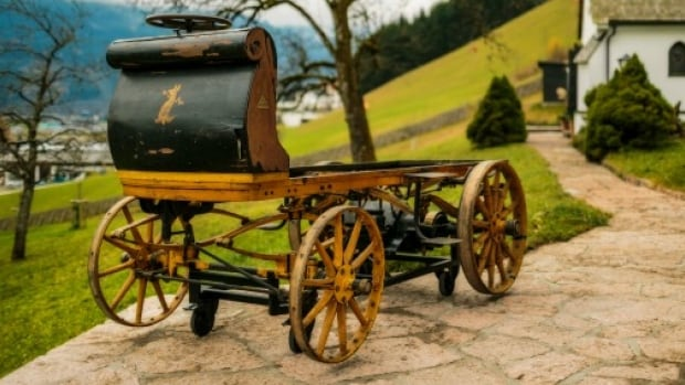 The first Porsche, built in 1898, is on display for the first time ever at the Porsche Museum in Germany.