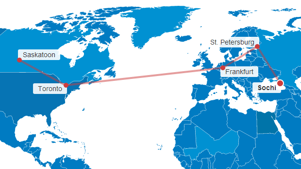 Flights to Sochi will most likely bring you through Frankfurt and St. Petersburg.