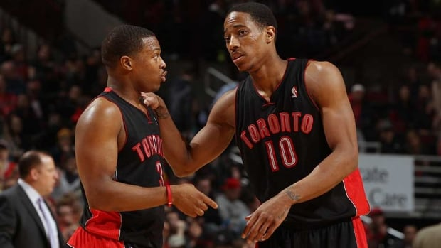 Toronto Raptors point guard Kyle Lowry, left, won't be joining teammate DeMar DeRozan at the NBA All-Star Game this year.